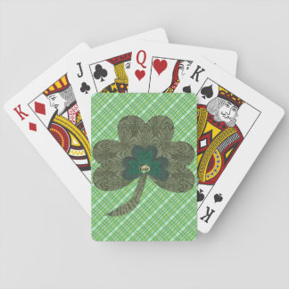Armadura verde con el trébol baraja de cartas