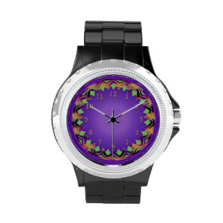 Armadura verde y violeta de oro reloj de mano