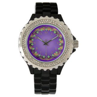 Armadura verde y violeta de oro reloj