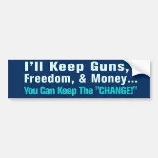 Armas, libertad, y pegatina para el parachoques