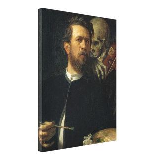 Arnold Böcklin - autorretrato con muerte Impresión De Lienzo