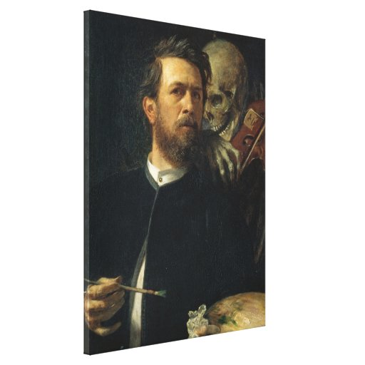 Arnold Böcklin - autorretrato con muerte Impresion De Lienzo