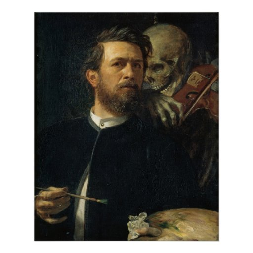 Arnold Böcklin - autorretrato con muerte Impresiones