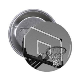 Aro de baloncesto negro y blanco chapa redonda de 5 cm