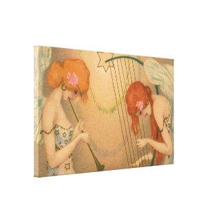 Arpa de la flauta de los músicos del ángel del lienzo