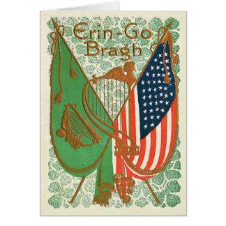 Arpa irlandesa de la bandera americana del trébol tarjeta de felicitación