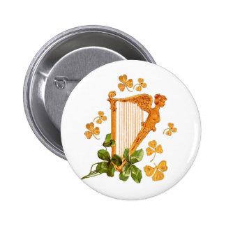 Arpa irlandesa de oro chapa redonda de 5 cm