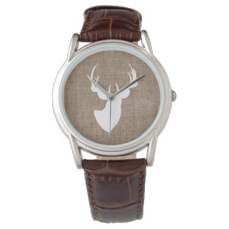 Arpillera de Brown y silueta blanca de los ciervos Reloj De Mano