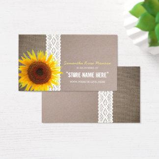 Arpillera del girasol y registro de regalos de la tarjeta de negocios