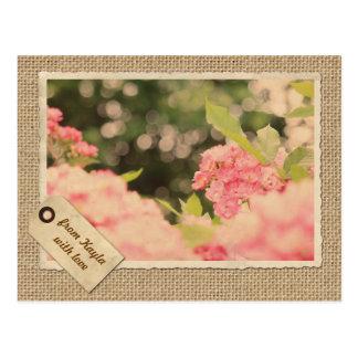 Arpillera rosada del marco del papel del vintage postal