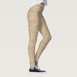 Arpillera rústica del vintage del país leggings