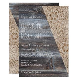 Arpillera rústica e invitación de madera del boda