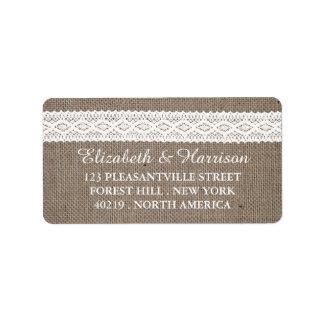 Arpillera rústica y boda blanco del cordón del etiqueta de dirección
