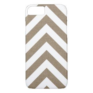 Arpillera rústica y flecha blanca Chevron Funda iPhone 7
