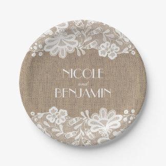 Arpillera y boda elegante floral del cordón plato de papel