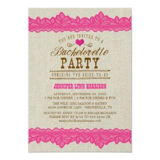 Arpillera y invitación rosada del fiesta de