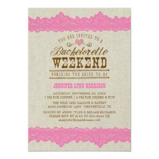 Arpillera y invitación rosada del fin de semana de