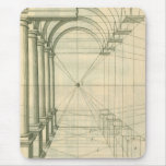Arquitectura del vintage, perspectiva de los arcos tapetes de ratones