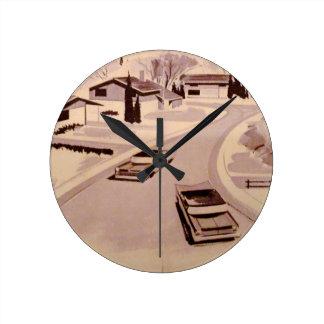 Arquitectura moderna de los mediados de siglo reloj redondo mediano