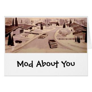 Arquitectura moderna de los mediados de siglo tarjeta de felicitación