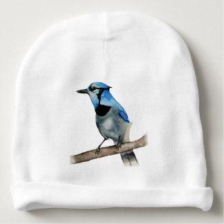 Arrendajo azul en la pintura de la acuarela de la gorrito para bebe
