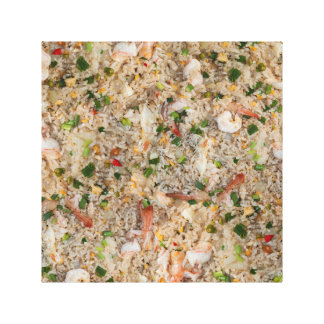 Arroz frito con el camarón impresión en lienzo estirada