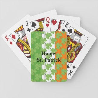 Arroz irlandés del trébol de la bandera del día de baraja de cartas
