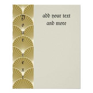 Art déco, concha de peregrino, modelo, oro, folleto 11,4 x 14,2 cm