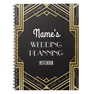 Art déco de Gatsby del cuaderno que casa notas del