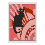Art déco del gato negro posters