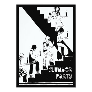 Art déco del vintage de la fiesta de pijamas del invitación 12,7 x 17,8 cm