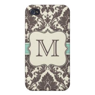 Art déco floral elegante del damasco de las inicia iPhone 4/4S carcasa