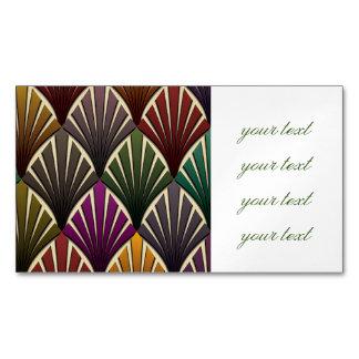 art déco, nouveau, verde caqui, azul marino, tarjetas de visita magnéticas (paquete de 25)