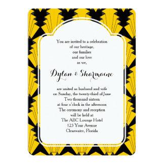 Art déco que casa ceremonia del matrimonio invitación 13,9 x 19,0 cm