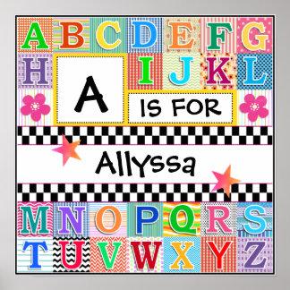 Arte 16x16 del alfabeto de los niños personalizado