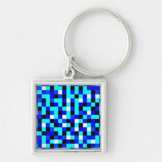 Arte a cuadros al azar del pixel - azul y blanco llavero