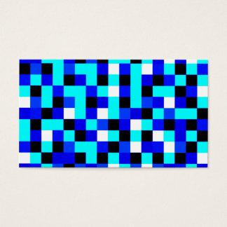 Arte a cuadros al azar del pixel - azul y blanco tarjeta de visita