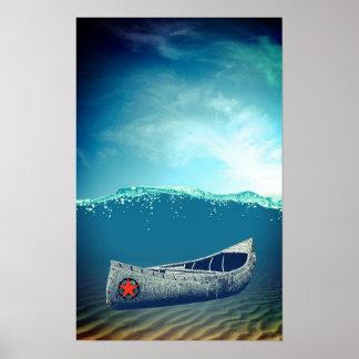 Arte a la deriva del poster de la canoa