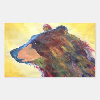 Arte abstracto colorido del oso pegatina rectangular