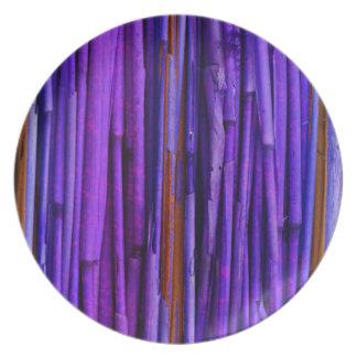 Arte abstracto de bambú púrpura plato de comida