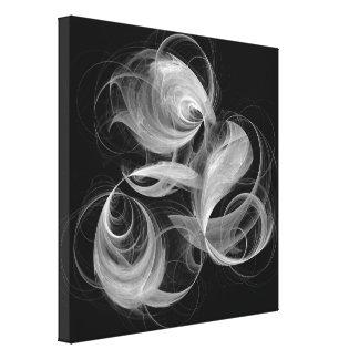 Arte abstracto de la bola de fuego blanco y negro