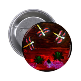 Arte abstracto de la charca del lirio de la chapa redonda de 5 cm