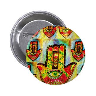 Arte abstracto de la mano de Hamsa Chapa Redonda 5 Cm