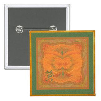 Arte abstracto de la mariposa anaranjada chapa cuadrada 5 cm