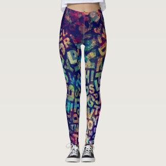 Arte abstracto de la pintura del multicolor leggings