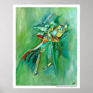 Arte abstracto de la ruina colorida verde para el