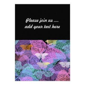 Arte abstracto de las mariposas translúcidas invitaciones personalizada