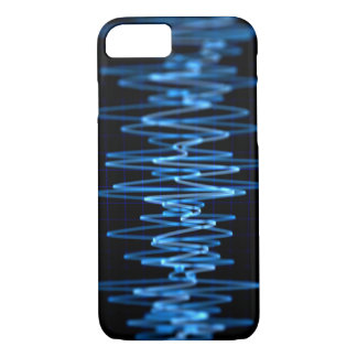 Arte abstracto de las ondas cerebrales azules funda iPhone 7