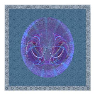 Arte abstracto de los pescados de Piscis Invitación 13,3 Cm X 13,3cm