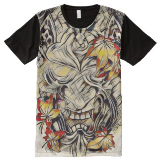 Arte abstracto del demonio japonés de acrílico del camiseta con estampado integral